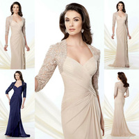 Women Dresses With Ruched Bodice Mother Of The Bride Dress With Side Draped Skirt With Lace Back Designs Three Quarter Sleeves