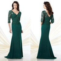 Hunter Green Beaded Lace Mother Of The Brides Dress With Three Quarter Sleeves A Line Chiffon Floor Length