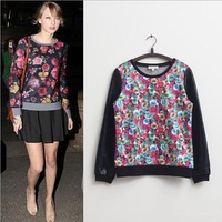2014 New spring womens sweatshirt women's floral printed hoodies Leather Sleeve cotton pullover sweatshirt C08065