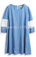 2014 summer new women denim one-piece dress patchwork sweet lace loose dresses
