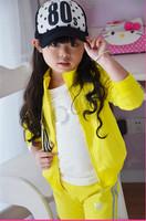 2014 autumn/winter fashion children's suit Girls sport suit fleece of the girls