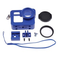 Blue Aluminium Alloy Rig Housing Protective Case Frame with 37mm UV Filter for Gopro Hero 3 3+