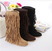 Free Shipping Winter New Arrived Women Tassel Boots Women Fashion Round Toe Sweet Shoes Keep Warm Boots Botas Plus size 35~42