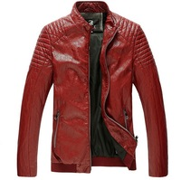 2014 Men'S New Leather Jacket, Motorcycle Zipper Casual Fashion Brand Solid PU Mens Leather Jackets And Coats Free Shipping P6