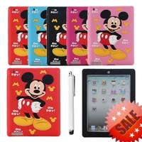 Red Mickey Mouse Soft Silicone Cover Case For Apple iPad 2 ipad 3 ipad 4,Free Shipping