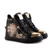 Free shipping 2014 giuseppe brand new shoes leather zipper high top women men leisure sneakers