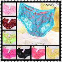 C005  Hot New 6 PCS/lot Sexy Women's Panties Lucency Mesh Ventilation Rose Flower Bow Fitness Briefs Girl's Underwear
