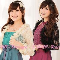 L-3XL Elegant Long Sleeve Ruffle Hollow Lace Jacket Women Cardigan for dress 2014 Fashion Plus Size Ladies Clothing 9120