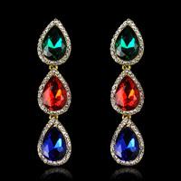 Luxury Silver Plated Glass Rhinestone Water Drop Shaped Crystal Chandelier Wedding Elegant Bridal Fashion Dangle Long Earrings