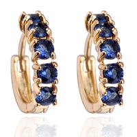 Women Crystal 18K Gold Plated Inlay Zircon Hoop Stud Crystal Earring Hoop Free Drop Shipping