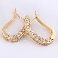 Elegant Lady Hoop Earrings 18K Gold Plated Inlay Zircon Earrings Dangle Jewelry  Free Drop Shipping