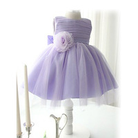 Beautiful Girls Princess Dress Children Party Formal Veil Dresses Kids Clothing Ball Gown Flower Big Bow Purple 2-7 years Old