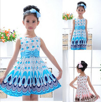 2014 Hot Sale New Kids Girls Baby Children Kids Peacock Animal Chiffon Dresses Clothes Clothing Summer 2-7Y Retail Costume Party