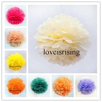 "Buy 20pcs get 10pcs Free-15cm (6"") Ivory Tissue Paper Pom Poms Wedding Party Decor Flower Balls For Baby Shower Favors Decor"