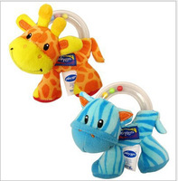 Small zebra giraffe grasping rattles with colorful beads baby toys plush toys free shipping