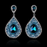 Brand New Luxury Water Drop Glass Rhinestone Women Wedding Evening Party Dangle Earrings. Wholesale High Quality Women Jewelry