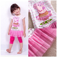Baby Girls Kids Children Bebe Infantil Peppa Pig Pink Dresses Cartoon Clothes Clothing Vestidos De Menina Summer Wear 1-6 Years