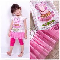 Baby Girls Kids Children Bebe Infantil Peppa Pig Pink Dresses Cartoon Clothes Clothing Vestidos De Menina Summer Wear 1-6 Years
