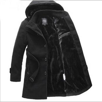 2014 Thicken Men Trench Coat Jacket Winter Warm Длинный Outerwear Повседневный Men ...
