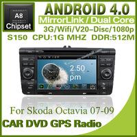 Pure Android 4.0 car Radio for Skoda Octavia with steering wheel control dvd GPS radio Bluetooth TV USB SD Free shipping 1294