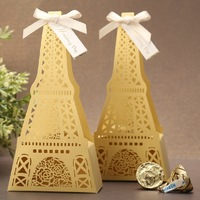 Eiffel Tower design pattern chocolate/cookie/sweet/candy boxes.Lovely romantic wedding party Favor cute gold gift box 50PCS/lot.