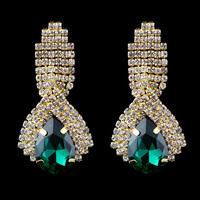 Luxury Gold Plated Glass Full Rhinestone Women Wedding Bridal Dangle Earrings. Water Drop Shaped Ladies Fashion Earrings Jewelry