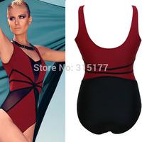 Free shipping Red Black Mesh Cutout Teddy Swimwear Sexy Swimwear Wholesale 10pcs/lot Summer swimsuit 40919