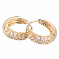 Fashion Inlay White CrystalEarring Shiny 18K Gold Filled Earring Free Drop Shipping
