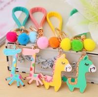 3pcs/lot freeshipping lovely cartoon horse metal Keychain,giraffe key ring 2014 new design wholesale