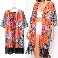 2014 New Hot Slae Fashion Women's Vintage Ethnic Bohemia Floral Leopard Print Tassel Fringe Kimono Long Cardigan Blouse Top