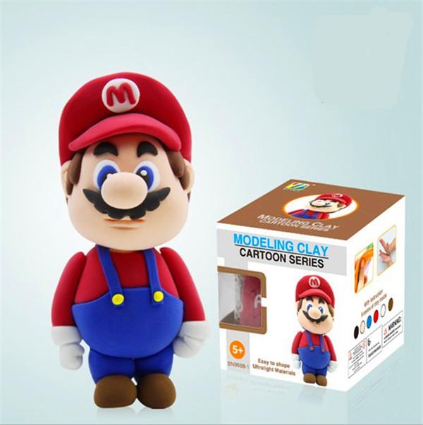 2PCS/Set Super mario bros DIY Mario/Luigi Action figures colour clay learning & education toys enlightern child Free Shipping(China (Mainland))