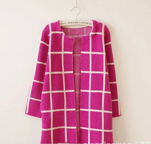 2015 south Korean woolen sweater irregular stripe splicing in candy colors long knitted garment sweater cardigan coat(China (Mainland))