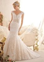 New Elegant mermaid V-neck Strapless Open back Sleeveless Court Applique on net,beading Lace White wedding dress
