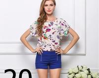 Fashion, 19 styles New Women Colorful style Chiffon blouse shirt lady fashion Batwing short sleeve Loose Blouse Top S-XXL FZ403