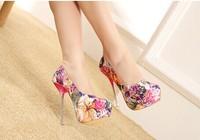 2014 luxury fashion shoes women pumps flower shining high heels women shoes free shipping