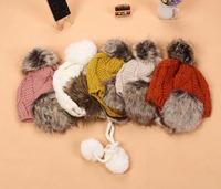 New arrival fur women winter warm hats knitted fashion caps Ear Flap Warm Hat Beanie  hat