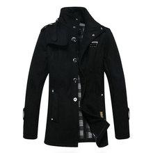 2014 men stylish winter coats men's woolen blends peacoat men's warm long  breasted wool  trench pea coat overcoat plus size(China (Mainland))