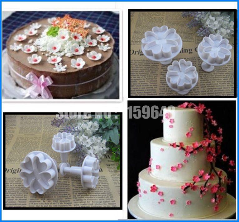 3 PCS cinco em forma de flor cinco amor coração flor êmbolo Fondant Mold cortador Sugarcraft do bolinho doce bolo Decor(China (Mainland))