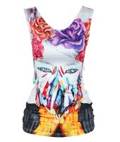 New Blusas Fashion Skull Head Printed Tank Tops Women's Skeleton Cartoon Punk Style T-shirt Tassel Back Hollow Out Vest Top