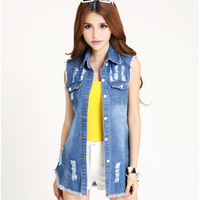 2014 New Girls Turn Down Collar Button Sleevess Bleached Frayed Hole Tassel Streetwear Vintage Casual Denim Vest Coat D0006M