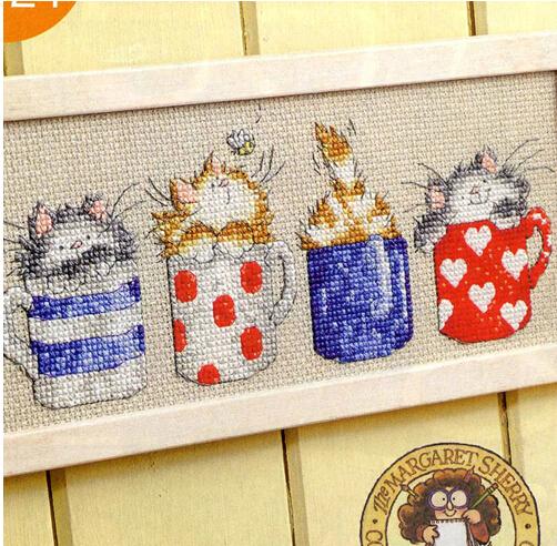 Non kits de broderie point de croix compté 14ct ensemble. tasses de dessin animé et chats belle décoration chambre d'enfants cadeaux livraison gratuite