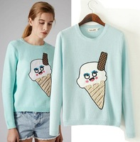 new arrival fashion 2014 autumn winter women warm white pullover butterfly print long sleeve cute knitted sweater