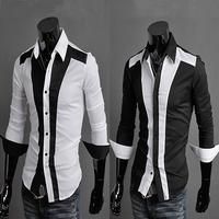 2014 New Dress Fashion Quality Long Sleeve Shirt Men Korean Slim Design,Formal Casual Male Dress Shirt Solid Stripe Man Blouse