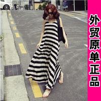 2014 spring black and white stripe one-piece dress modal expansion bottom one-piece dress full dress spaghetti strap skirt