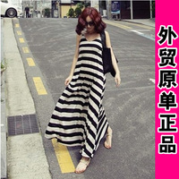 2014 spring black and white stripe one-piece dress modal expansion bottom one-piece dress full dress spaghetti strap skirt