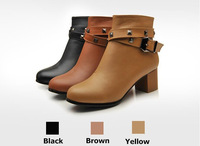 2014 Autumn & winter 5.5cm heel martin boots  ankle boots with a single buckle rivet winter boots thickening women boots 33-43