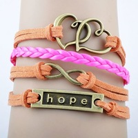 Hot NEW fashion pink or orange rope infinity love with two heart leather bracelet charm bracelet of hope