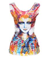 Sexy High Summer New Blusas Girls Casual Tank Top Fashionable 3D Printing Individual  Women Vest T-shirt Basic Lady Primer Shirt