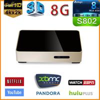Newest Quad cord Amlogic S802 android tv box M802 DDRIII  2GB 8GB Flash android 4.4 Wifi bluetooth XBMC smart tv box