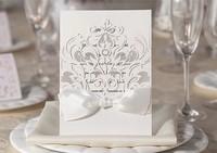 Personalized Lase cut Elegant  Wedding Invitation card white color100PCS/LOT Free Printing
